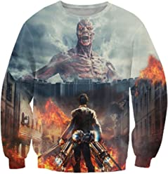 ZURIC Woman Man Attack On Titan 3D Print Long Sleeve Hoodies Sweats