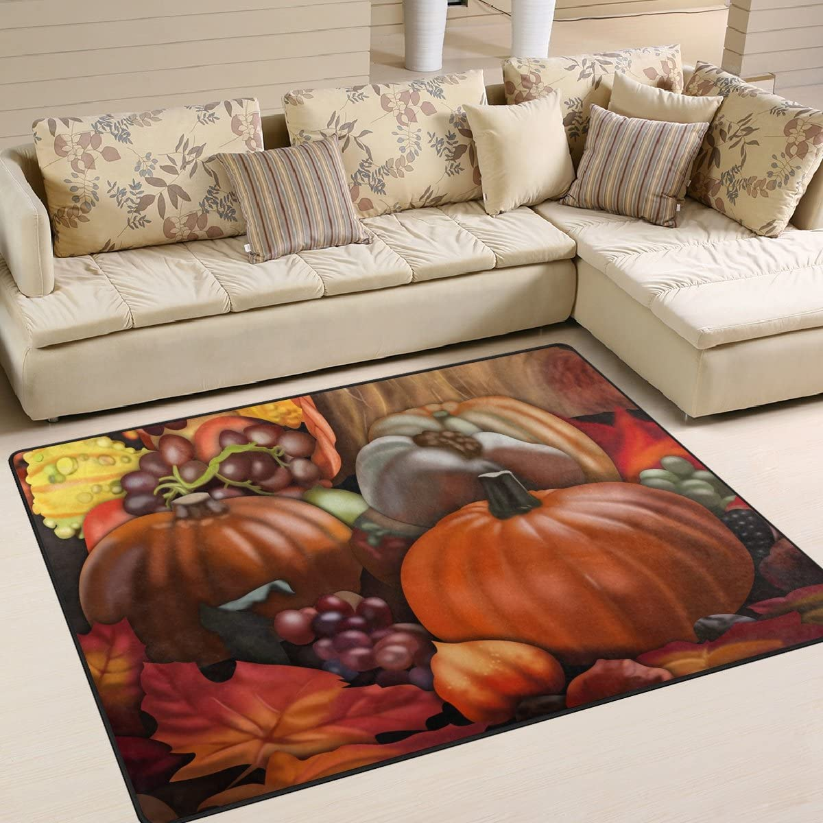 Amazon Com Naanle Thanksgiving Holiday Area Rug 5 X7 Thanksgiving Harvest Pumpkin Polyester Area Rug Mat For Living Dining Dorm Room Bedroom Home Decorative Kitchen Dining