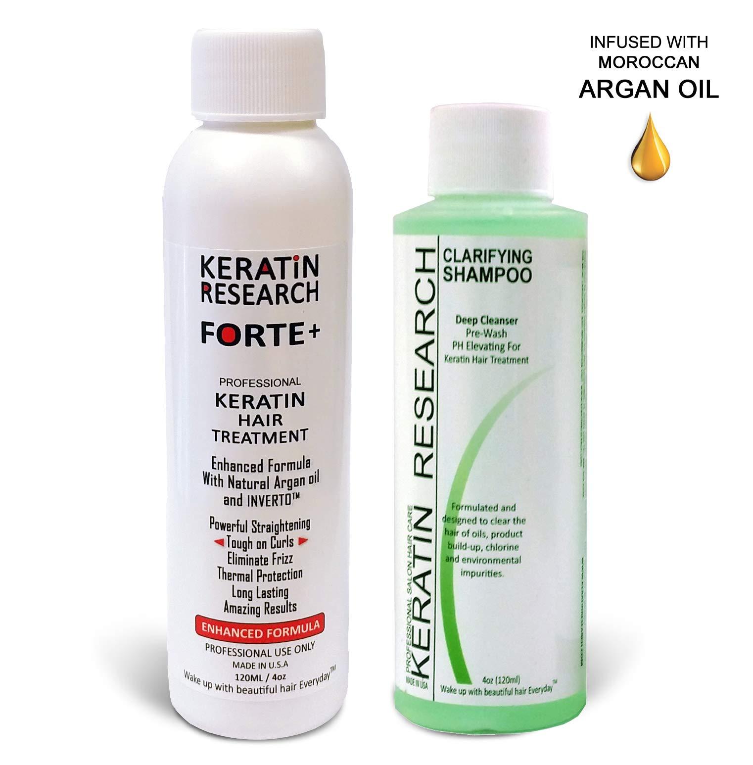 Keratin Forte Keratin Brazilian Keratin Hair Blowout Treatment Extra Strength 120ml with Clarifying Shampoo Enhanced Formula for Curly Hair By Keratin Research Queratina Keratina Brasilera Forte