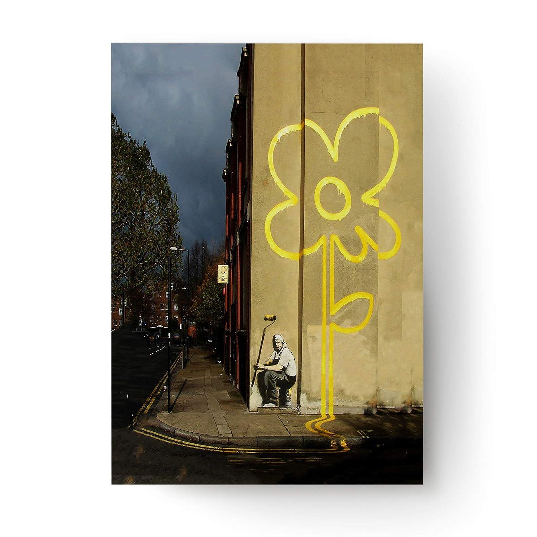 Banksy líneas Amarillas Flores Carteles Arte Graffiti Cartel ...