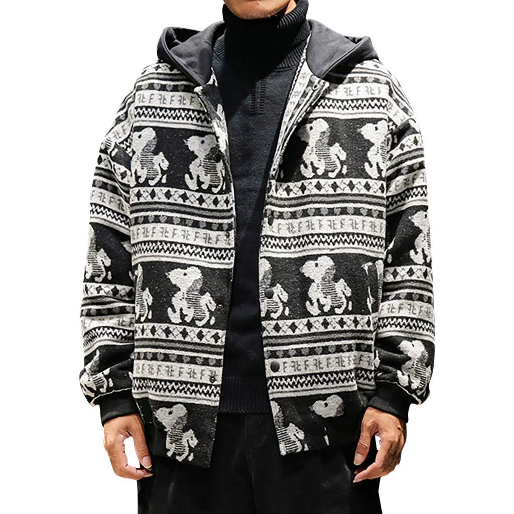 VZEXA Mens Outerwear Winter Print Zip Up Hooded Coats Hoodie Heavyweight Casual Jacket (White,XL) by VZEXA