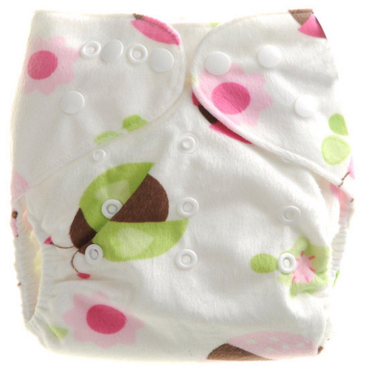 Aivtalk Bebé Niño Niña Pañal de Tela Felpa Corta Transpirable Lavable con Botones Cloth Diaper Absorbente - Bóhos
