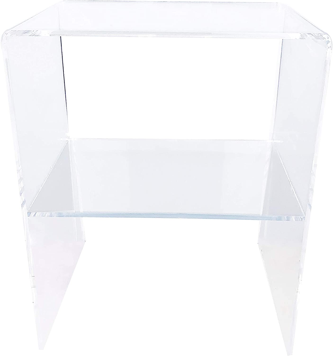 Clear Acrylic Decorative Nightstand - Made in USA - Modern Design Trendy Home End Table or Side Table with 2 Shelves - 3/8 Inch Thick
