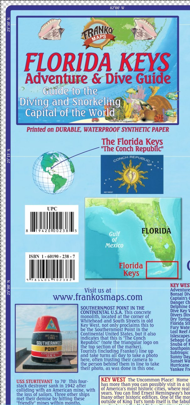 Map Of Florida And Florida Keys.Florida Keys Adventure Dive Guide Franko Maps Waterproof