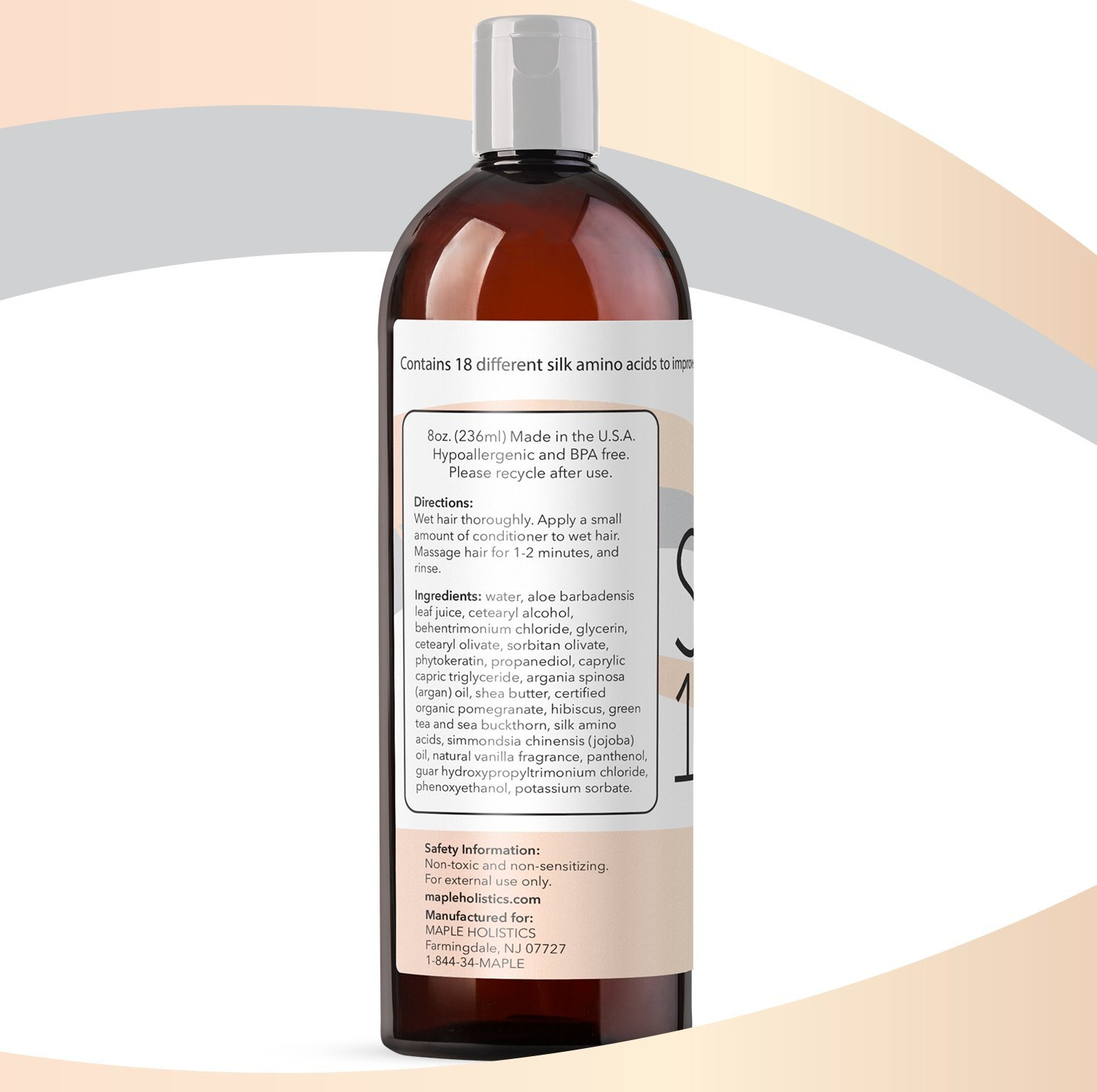 Silk18 Natural Hair Conditioner Argan Oil Sulfate Free Treatment for Dry and Damaged Hair Silk Amino Acids Jojoba & Keratin All Hair Types Women & Men & Teens Safe for Color Treated Hair by Maple Holistics (Image #5)