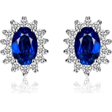 Jewelrypalace Kate Middleton's Princess Diana Created Sapphire Ruby Nano Emerald Alexandrite Sapphire Stud Earrings 925 Sterling Silver