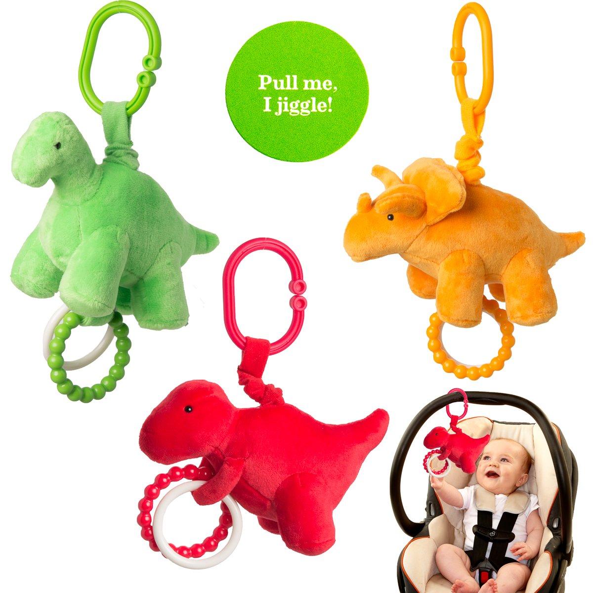 Manhattan Toy Company (Set of 3) Newborn Baby Toys Plush Jiggle Hanging Toys for Babies Teething