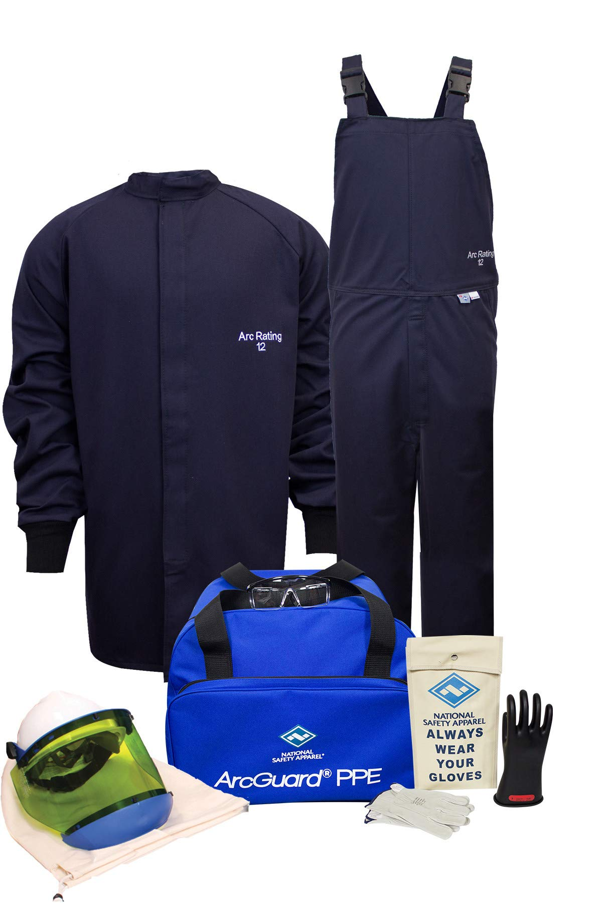 National Safety Apparel KIT2SC11XL10 ArcGuard UltraSoft Arc Flash Kit with Short Coat and Bib Overall, 12 Calorie, X-Large, Size 10, Navy