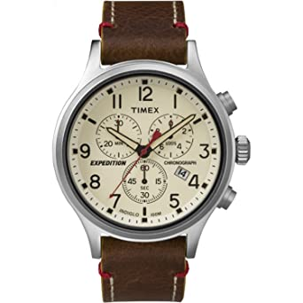b55658586 Timex Men's TW4B04300 Expedition Scout Chrono Brown/Natural Leather Strap  Watch