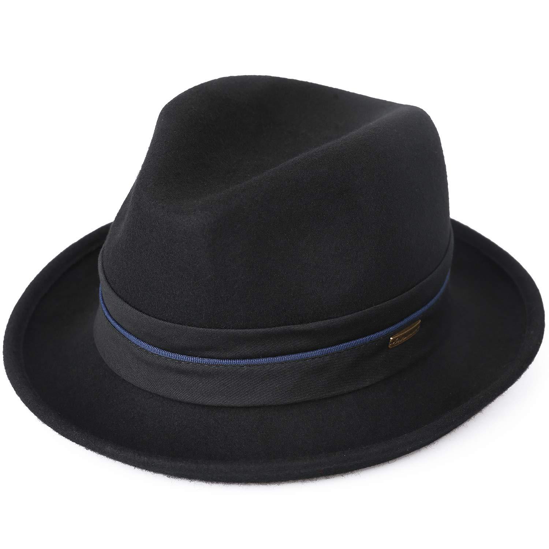 Sedancasesa 100% Wool Felt Hat Men's Dress Fedora Trilby Gangster Curl Brim Hats FM131010-Black
