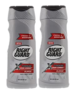 Right Guard 017000135090 Xtreme Odor Combat, Surge, Hair & Body Wash, 16 Fl. Oz. (Pack of 2), 16 Ounces
