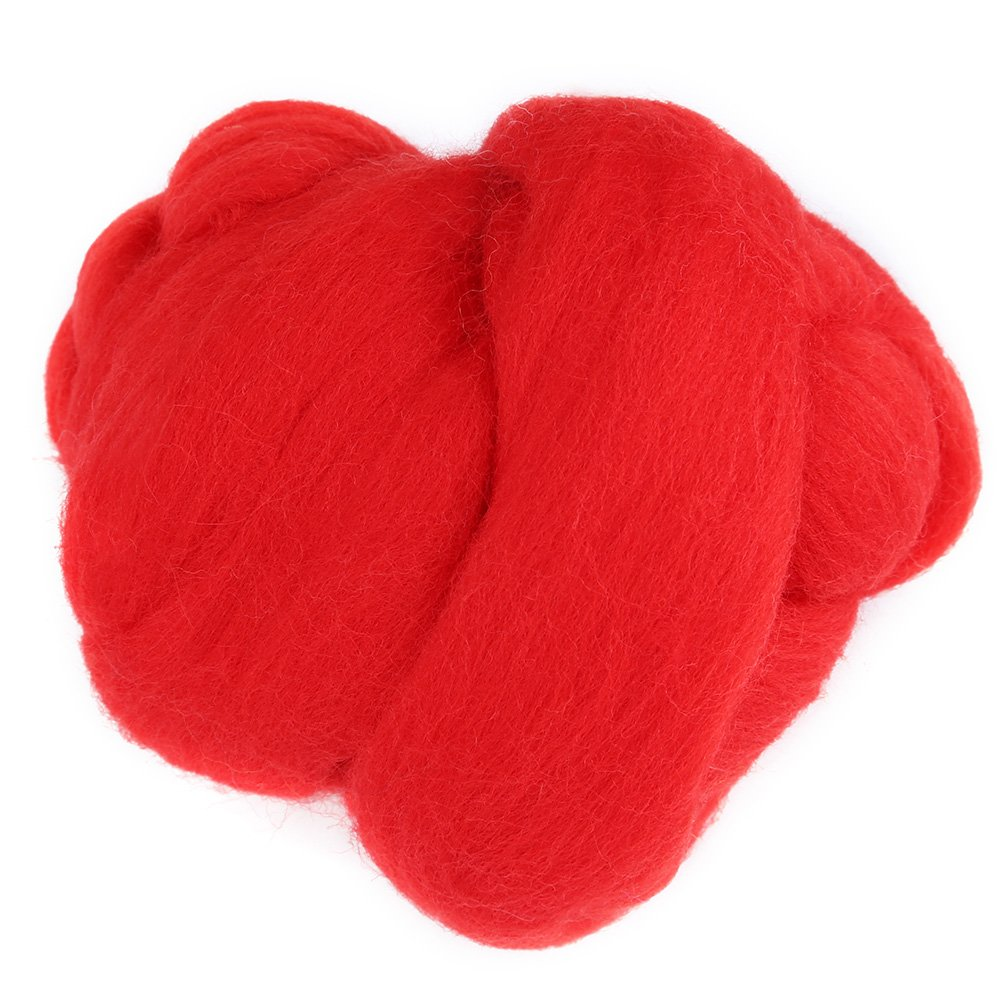 Needle Felting Starter Kit 1 Roll Colorful Felting Wool Roving Hand Spinning Sewing Trimming Merino Wool Fibre(Red) Hilitand