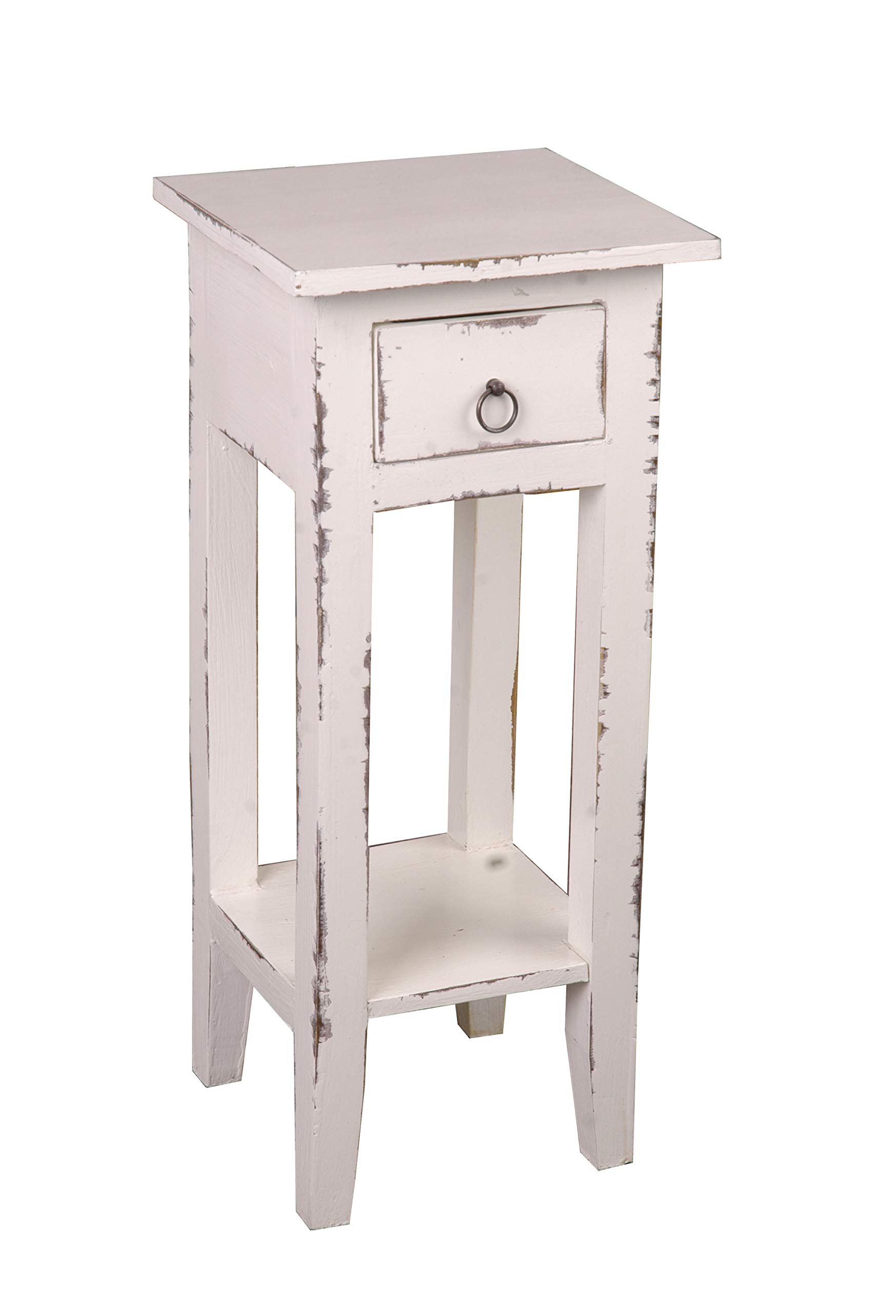 Sunset Trading Shabby Chic Cottage Table, Small One Drawer, Light Distressed whitewash by Sunset Trading