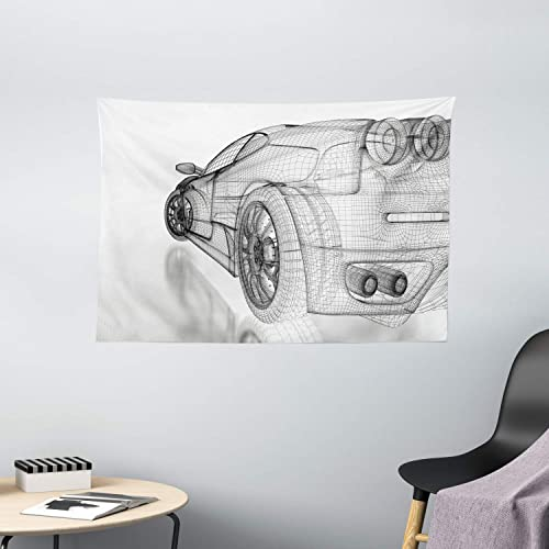 Ambesonne Cars Tapestry, Artificial 3 Dimensional Sports Car Digital Draft Pattern Technology Illustration, Wide Wall Hanging for Bedroom Living Room Dorm, 60 X 40 , White Grey
