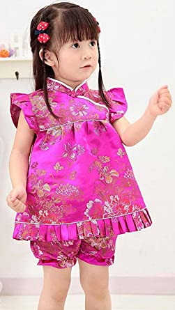 9c4b45372bf Amazon.com  CRB Fashion Baby Toddler Kids Girls Qipao Celebration Chinese  New Years Asian Costume Set Dress Outfit  Clothing
