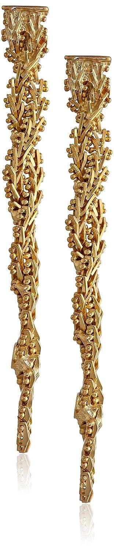 14k Yellow Gold-Bonded Sterling Silver Riccio Twist Post Dangle Earrings