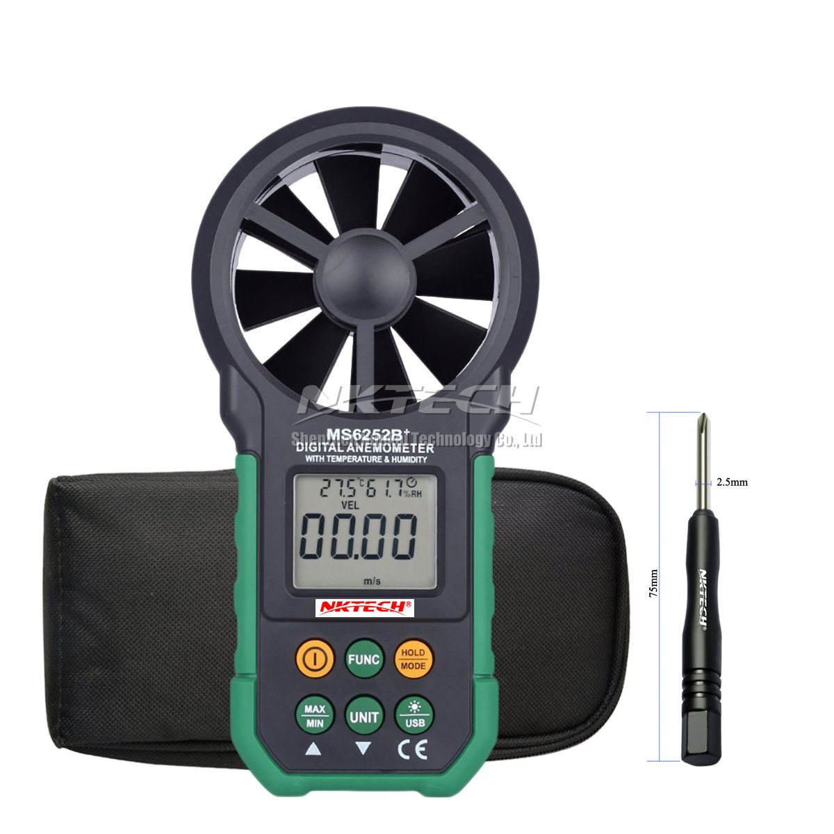 NKTECH MS6252B+ Digital Anemometer Wind Speed Meter Air Flow Volume Ambient with Temperature Humidity Display USB Data Upload Backlight Handheld LCD Electronic Test