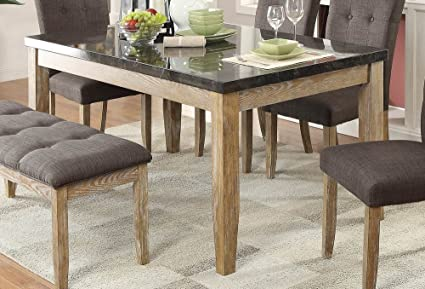 Amazon.com - Huron Dining Table w/Faux Marble Top in Light ...