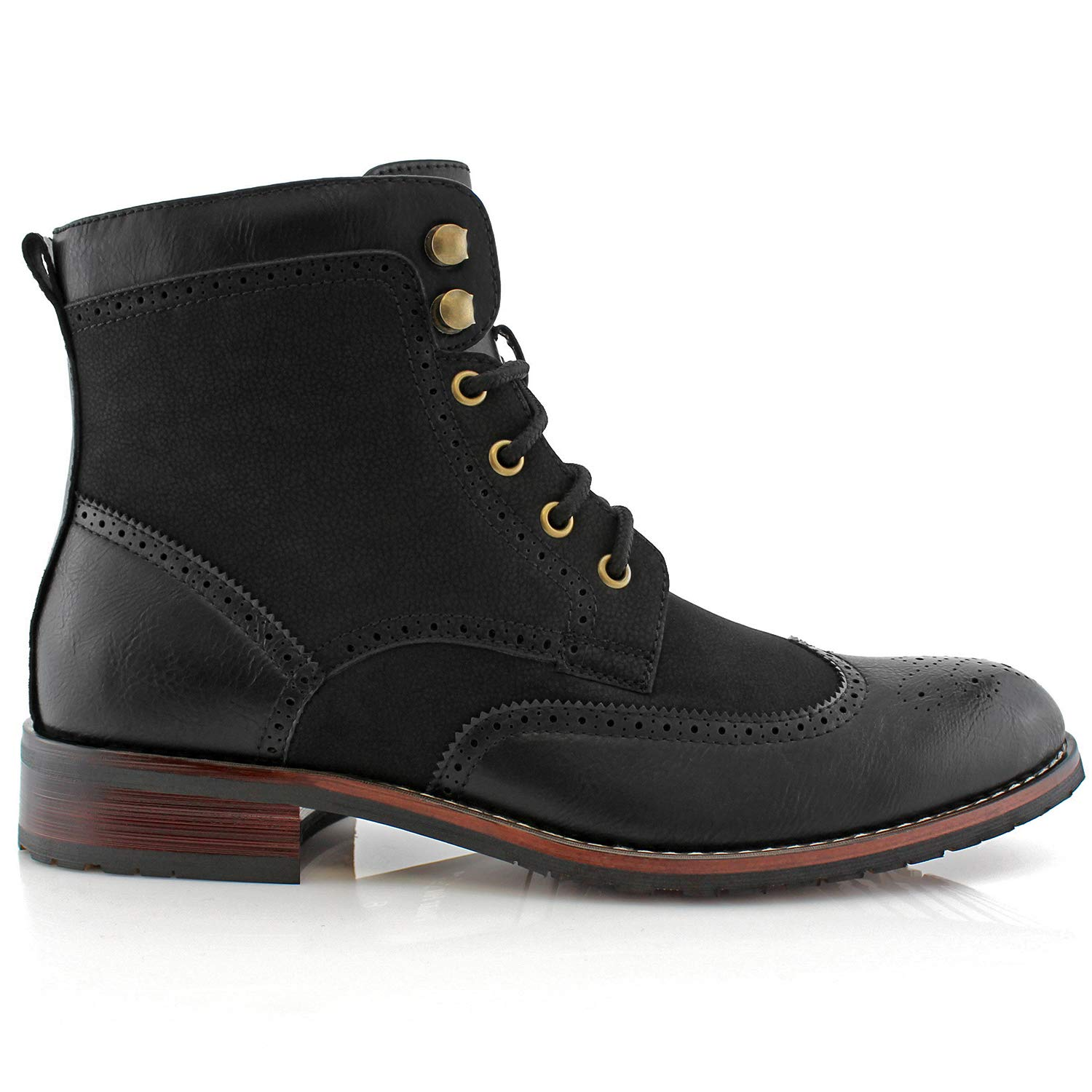 a14429adff1 Polar Fox Jonah MPX808567 Mens Casual Perforated Vegan Leather High-Top Red  Wing tip Brogue Western Derby Dress Boots