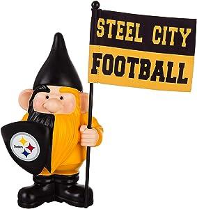 "Evergreen Enterprises, Inc. Steelers 10"" Garden Gnome Flag Holder Outdoor Statue Decoration Football"