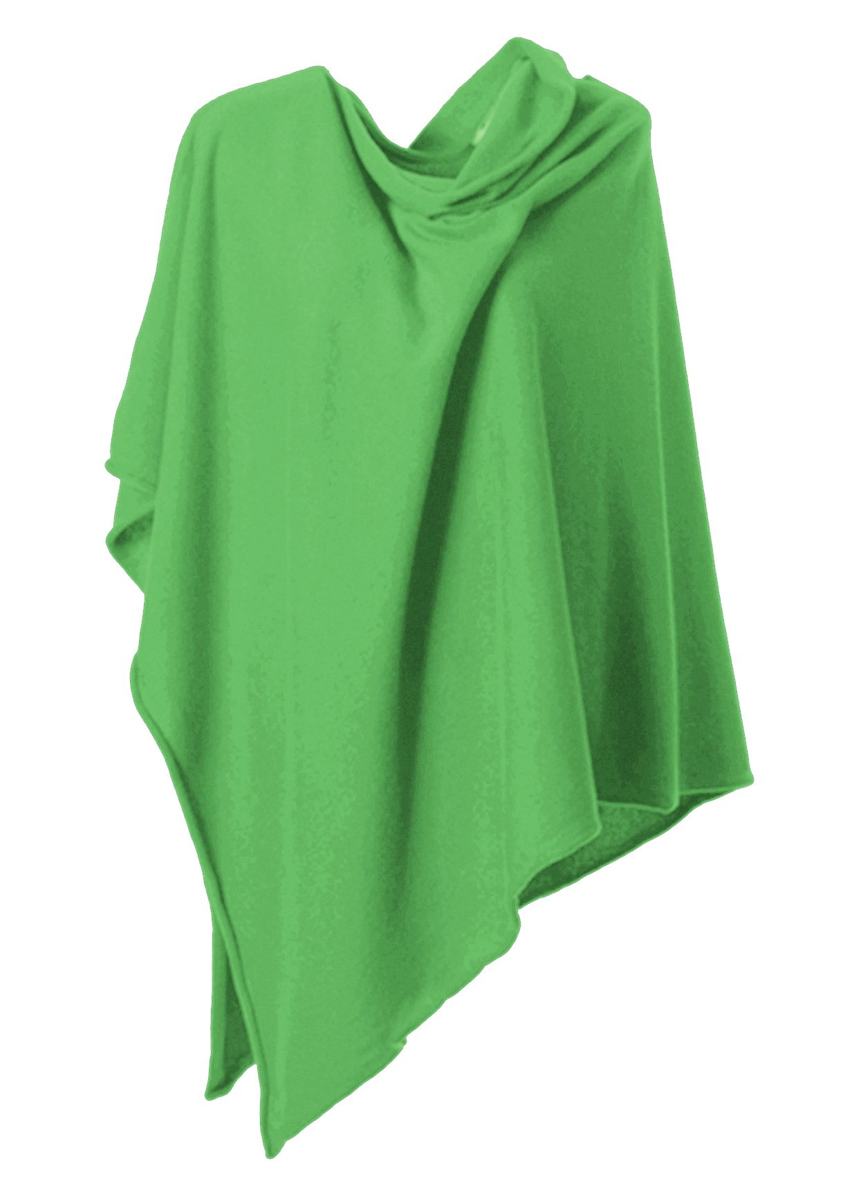 Anna Kristine Asymmetrical 100% Cashmere Draped Poncho Topper - Kelly Green