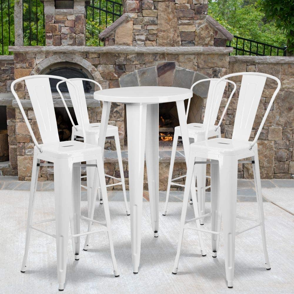 """Flash Furniture Commercial Grade 24"""" Round White Metal Indoor-Outdoor Bar Table Set with 4 Cafe Stools"""