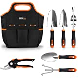 Garden Tools Set, 7 Piece Stainless Steel Heavy Duty Gardening kit with Soft Rubberized Non-Slip Handle -Durable Storage Tote Bag and Pruning Shears - Garden Gifts for Men & Women GGT4A