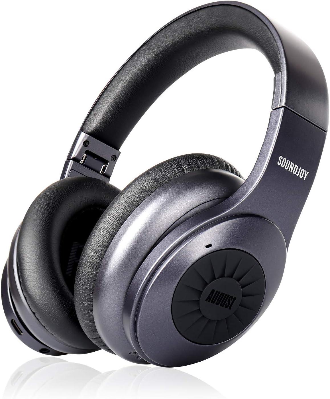 Auriculares inalámbricos Bluetooth con cancelación de Ruido August Over Ear - EP765 Disfruta de un Sonido Rico en Graves y una Comodidad óptima - Bluetooth v5.0 con aptX