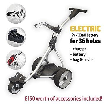 Carro de golf eléctrico., Rider Silver Electric Golf Trolley, plata: Amazon.es: Deportes y aire libre