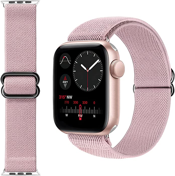 KRISVI Stretchy Solo Loop Strap Compatible with Apple Watch Bands 38mm 40mm, Elastic Nylon Braided Band Adjustable Sport Bands Replacement Wristband for iWatch Series 6 5 4 3 2 1 SE (Pink-38/40)