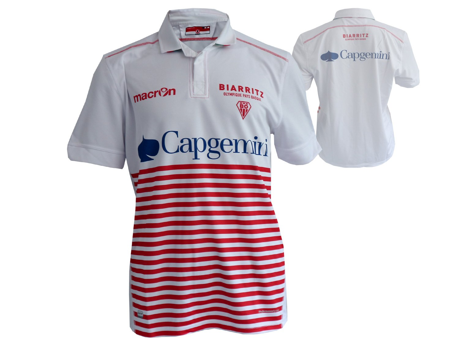 Macron Biarritz Olympique Rugby Jersey Bianco Rugby Union Team Francia Shirt maglia