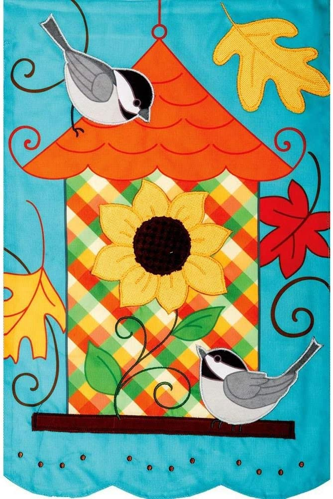 Custom Decor Fall Birdhouse - Garden Size, Emboidered Applique Style, Double Sided Decorative Flag - Approx. 12 Inch X 17.98 Inch