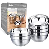 Geini Premium Stainless Steel Bowls Set, Double Walled Insulated, Nesting Serving Bowls Without Lids in Kitchen for Soup…