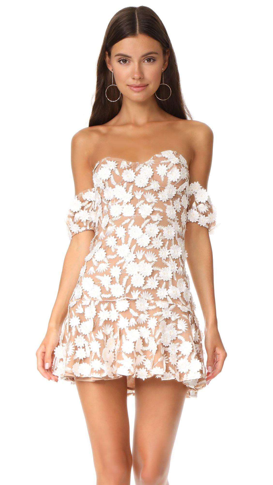 For Love & Lemons Women's Amelia Strapless Mini Dress, White, Medium