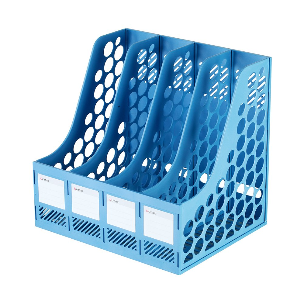 COMIX 4 Compartments Desktop File Book Magazine Sorter Holder Organizer Blue