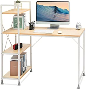 Comhoma Computer Desk with Storage Shelves 47 Inch Home Office Desk with Reversible Bookshelf Study Writing Table Corner Desk for Small Space Easy Assemble, Beige