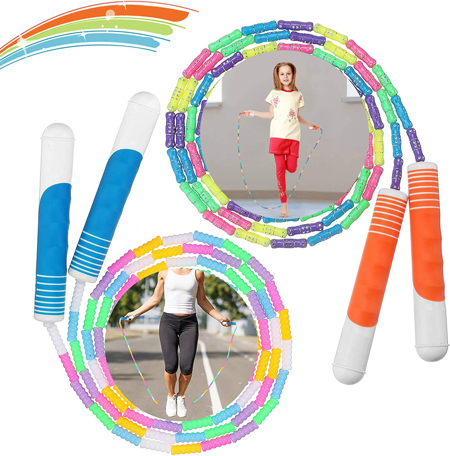 Workout 2Pcs Skipping Rope Adult Kids Soft Beaded Jump Rope for Keeping Fit