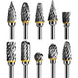 TianTac Tungsten Carbide Rotary Burr Set 10pcs, Carving Burr Bits, with 3mm Shank 6mm Bit for Wood & Stone Carving, Steel Met