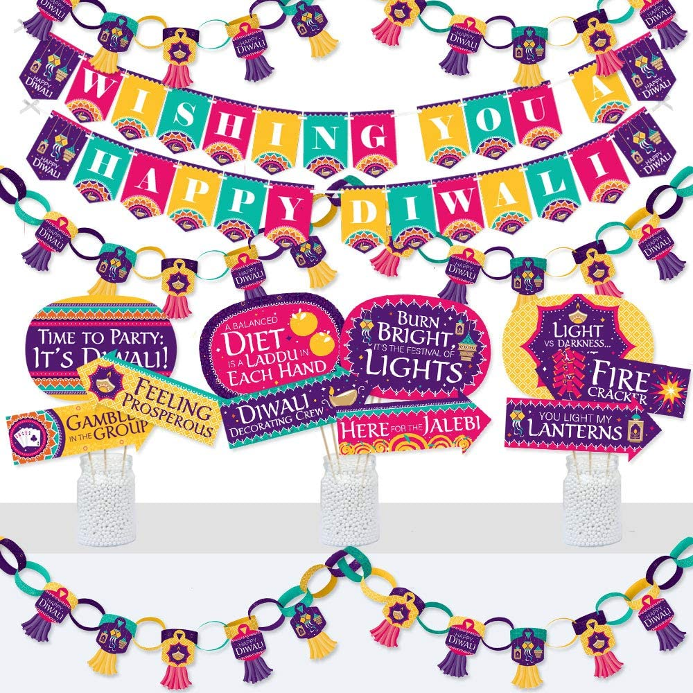 Big Dot of Happiness Happy Diwali - Banner and Photo Booth Decorations - Festival of Lights Party Supplies Kit - Doterrific Bundle