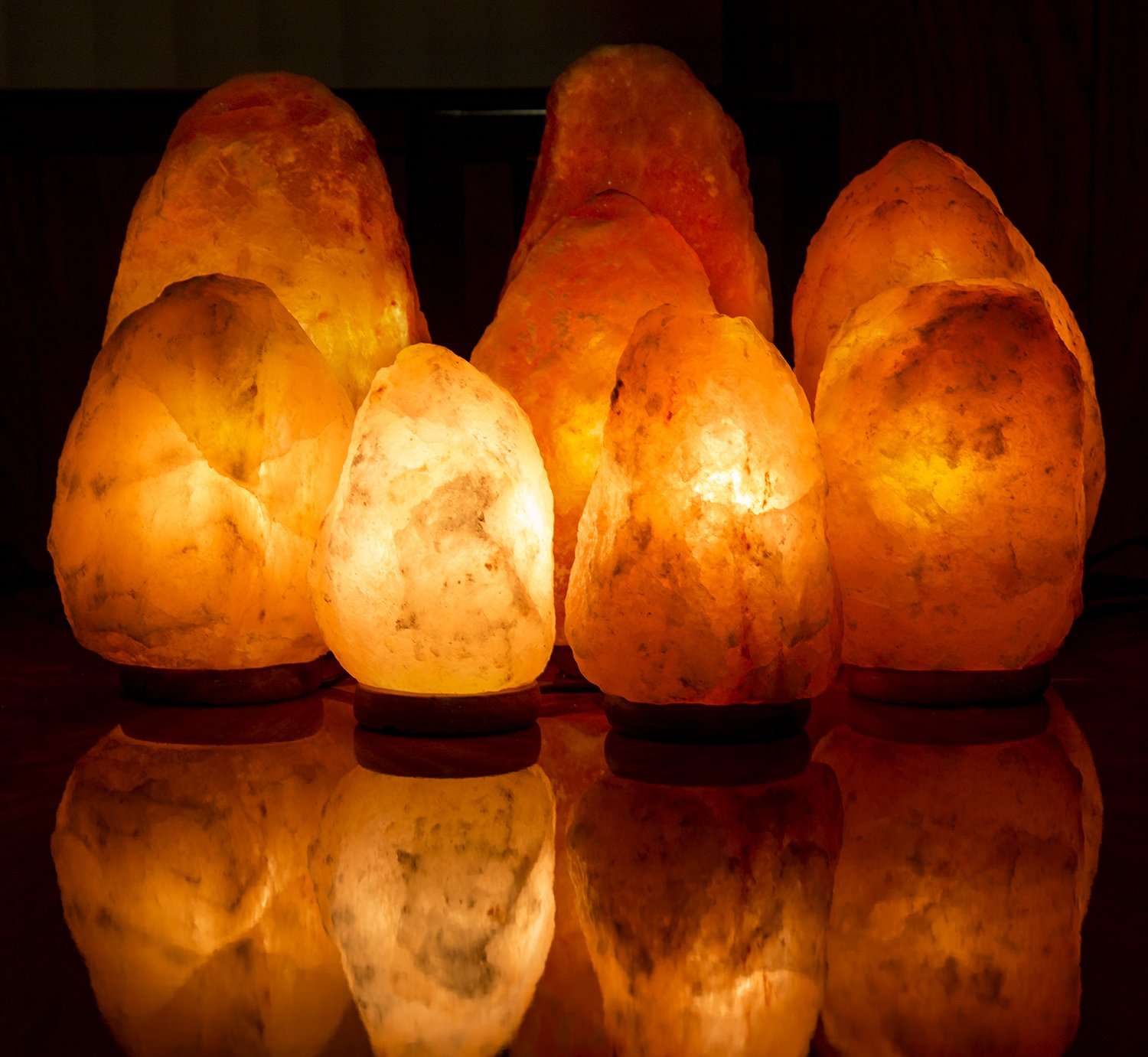 Crystal Decor 6'' to 14'' Inch Dimmable Hand Crafted Natural Himalayan Salt Lamp On Wooden Base - 8 to 9 inches by CRYSTAL DECOR (Image #7)