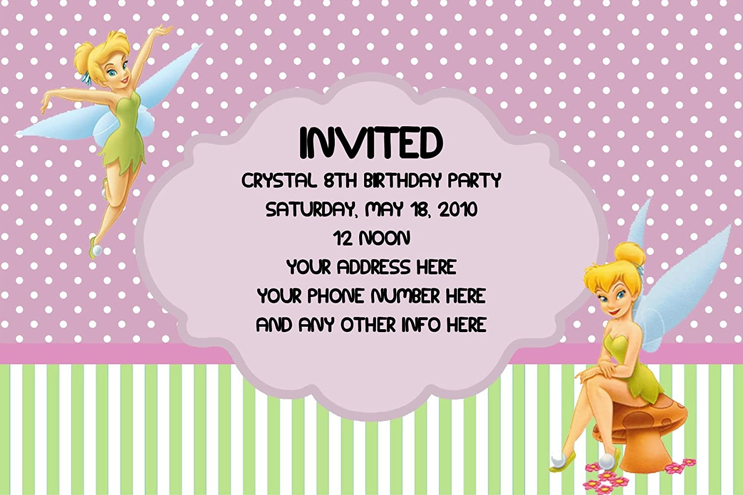 Personalised tinkerbell party invites Amazoncouk Office Products – Tinkerbell Party Invitation
