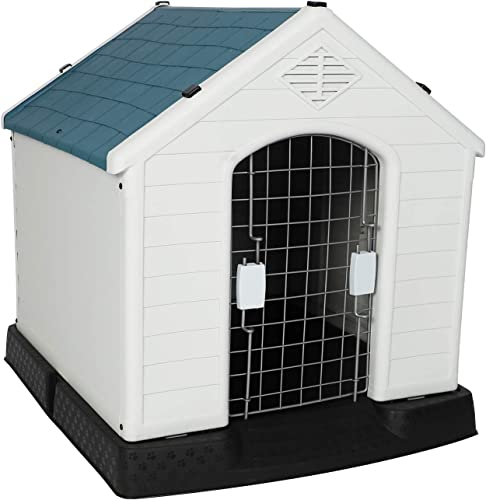 LUCKYERMORE Dog House Plastic Pet Puppy Kennel Waterproof Windproof Dog Shelter Outdoor Indoor Large Crate for All Weather, 28 H 32 H 39 H