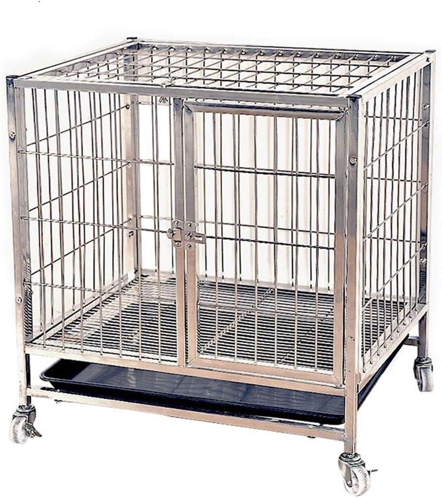 丈夫な犬用ケージ 犬クレート組み立てはステンレススチールドッグケージ厚さのステンレススチールペットケージ室内犬中小犬二つ折り 丈夫 (サイズ : 95*64*75cm)