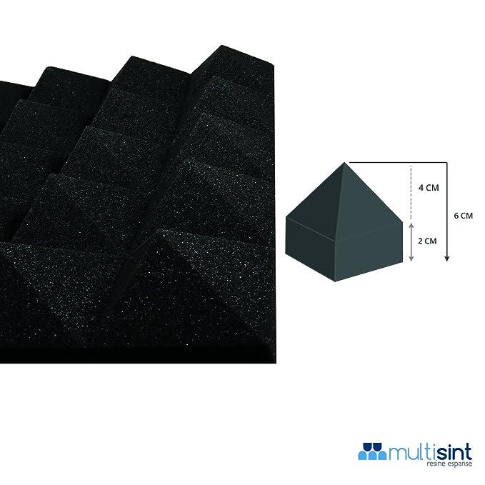Paneles aislamiento acústico con pirámides de espuma - Poliuretano 50 x 50 x 6 cm D30 autoextinguible - ignífugo Clase 1IM Standard 100% producto de Italia ...