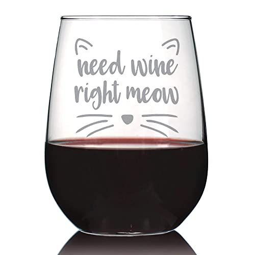4290a8fbdce Amazon.com  Need Wine Right Meow – Cute Funny Cat Stemless Wine ...