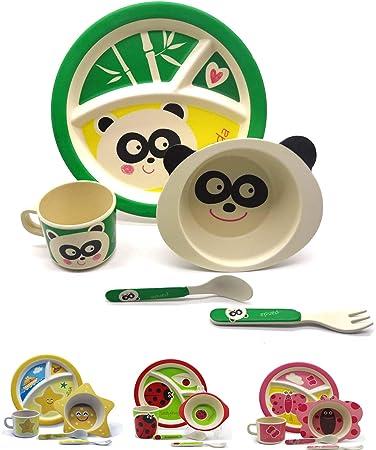 Vajilla infantil de bambú juego de vajilla infantil de cubertería ...