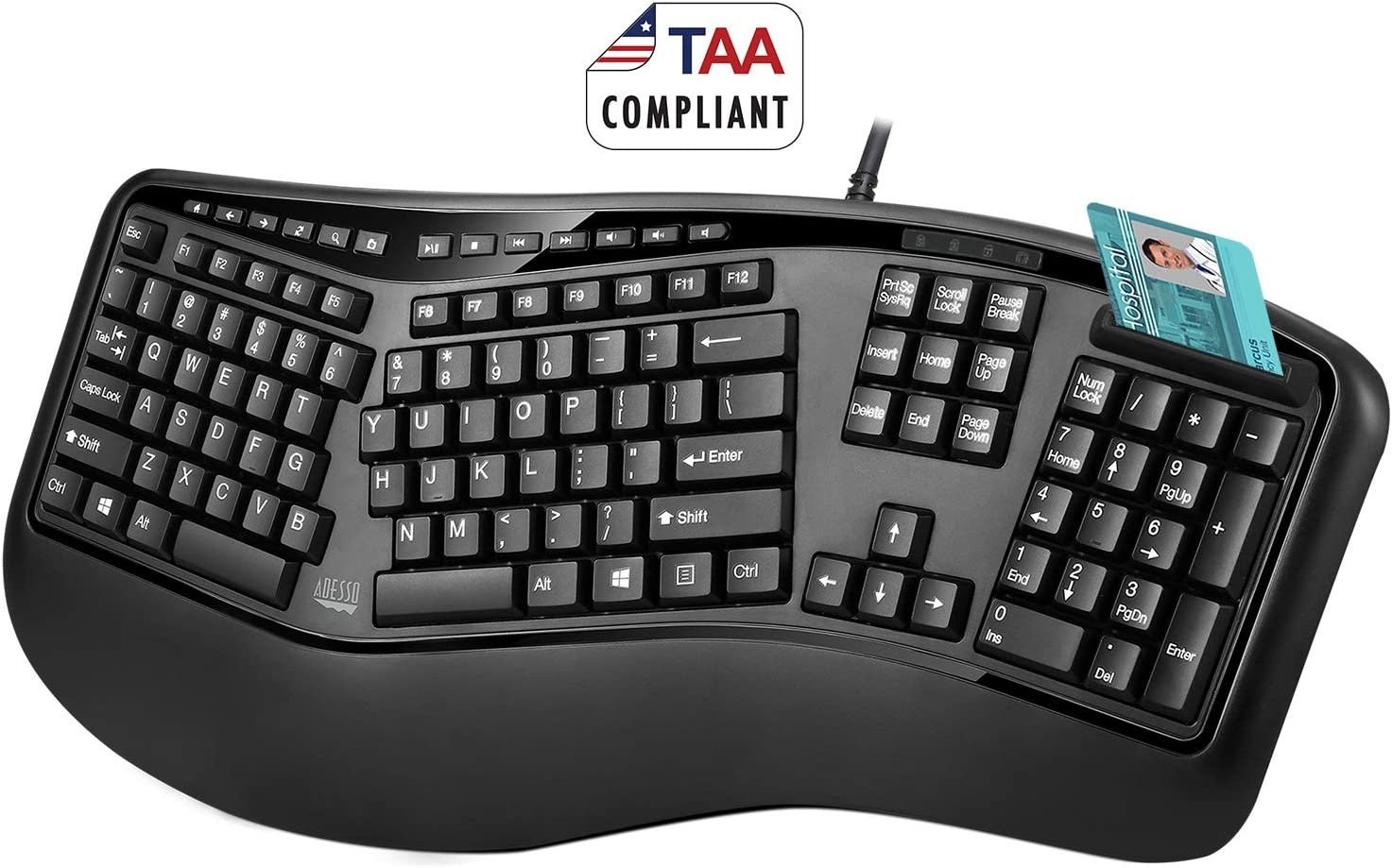 Adesso TruForm AKB-150SB-TAA Desktop Ergonomic Smart Card Reader Keyboard (TAA Compliant)