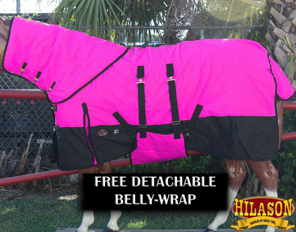 HILASON 72 1200D Waterproof Winter Horse Blanket Neck Cover Belly WRAP HOT Pink