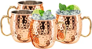 Artisan Handcrafted Kitchen Science Durable Stainless Steel Lined Moscow Mule Copper Mugs 18 Ounce Set of 4 Cups Gift Set! Food Safe & Tarnish Resistant with Thumb Rest
