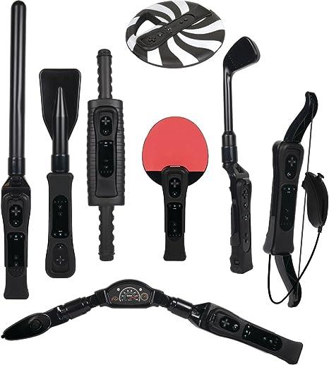 CTA Digital 8 in 1 Sports Pack for Wii Sport Resort - Volante/mando (Deporte, Wii, Select, Inalámbrico, RF, Negro): Amazon.es: Videojuegos